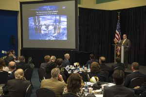 Dr. Richard Gilbrech, Director, NASA Stennis Space Center provides an up-date to more than 100 community, business and governmental leaders during the Annual Stennis Director's Briefing, sponsored by Partners for Stennis, at INFINITY Science Center.