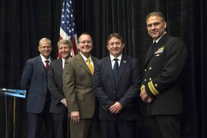 Pictured left to right are Dr. William Burnett, Deputy Commander and Technical Director to the Naval Meteorology and Oceanography Command; John Wilson, Executive Director, INFINITY Science Center; Dr. Richard Gilbrech, Director, NASA Stennis Space Center; Michael McDaniel, Chairman of Partners for Stennis of Aerojet Rocketdyne; and, Lt. Commander Kerry Jackson, Naval Small Craft Instruction and Technical Training School.